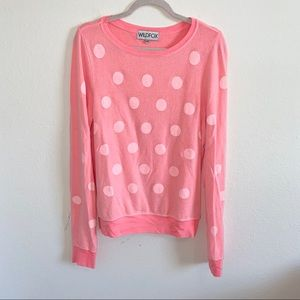 NWOT Wildfox pink polka dot sweater size XS